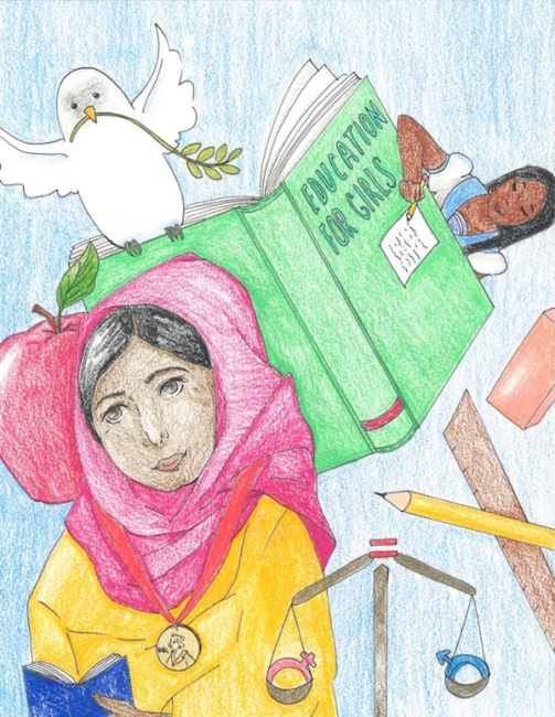 Drawing by Emilie, of Malala, books, school supplies, and a dove