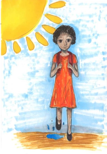 A drawing by Kelly of a girl walking to school under the sun