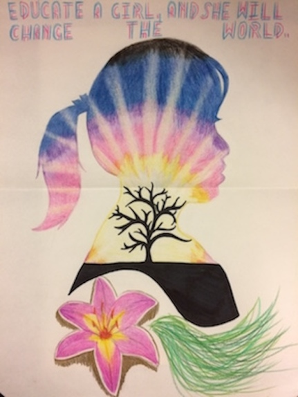 A drawing by Melissa, of the shilouette of a girl filled in with a tree and sunset and flower, with the words