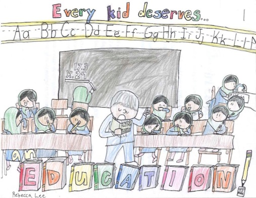 A drawing by Rebecca, of students in a classroom, with the words